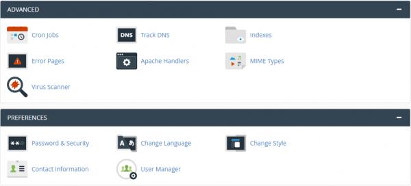 cPanel Main - tab advanced dan preferences